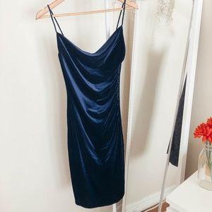 Navy blue velvet cowl neck cocktail dress